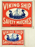 1+1 Alte Zündholzetiketten Aus Schweden, Viking Ship, Safety Matches, Made In Sweden. - Matchbox Labels