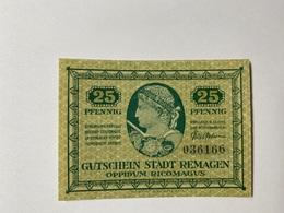 Allemagne Notgeld Remagen 25 Pfennig - [ 3] 1918-1933 : République De Weimar