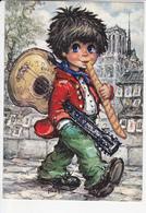 GAMINS, Sur Les Quais De Paris, Guitare, Baguette De Pain, Notre-Dame, Signée Michel THOMAS 1975 - Portraits