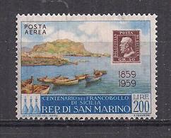 SAN MARINO POSTA AEREA 1959 CENTENARIO DEL FRANCOBOLLO DI SICILIA SASS. A131 MLH VF - Poste Aérienne