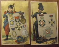 2 Chromos Image Bon Point Chromo. Vers 1880-1890. Décorations Médailles. Verso Vierge - Chromos
