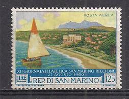 SAN MARINO POSTA AEREA 1960 12°GIORNATA FILATELICA S.MARINO-RICCIONE SASS. A137 MLH VF - Poste Aérienne