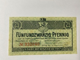 Allemagne Notgeld Remscheid 25 Pfennig - [ 3] 1918-1933 : République De Weimar