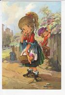 Grande Soeur Et Petit Frère Chapardeur, Poupée, Lance-pierres, Poubelle, Signée I. Vernet 1970 Environ - Groupes D'enfants & Familles