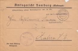 Dvt De Lettre Pré-imprimée (Amtsgericht Saarburg) Obl Sarrburg (Lothr) F (T 329) Le 4/12/41 Pour Saverne - Marcophilie (Lettres)