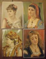 4 Grands Chromos Image Bon Point Chromo. Vers 1880-1890. Bustes De Femmes. Verso  écrit - Chromos