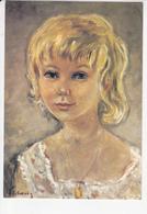 Petite Fille Au Collier En Or, Peinture De Katherine LIBROWICZ 1979 - Portraits