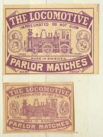 1+1 Alte Zündholzetiketten Aus Schweden, The Locomotive, Parlor Matches, Made In Sweden. - Matchbox Labels