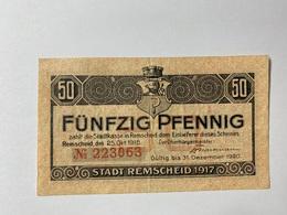 Allemagne Notgeld Remscheid 50 Pfennig - [ 3] 1918-1933 : République De Weimar