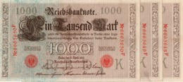 GERMANY- 100 MARK 1910  P-44b/3  Unc Consecutive SERIE K 6665648-49-50  F - [ 2] 1871-1918 : German Empire