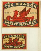 1+1 Alte Zündholzetiketten Aus Schweden, The Dragon, Safety Matches, Made In Sweden. - Matchbox Labels