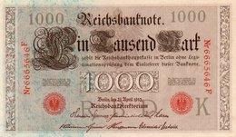 GERMANY- 100 MARK 1910  P-44b/3  Unc  SERIE K 6665646  F - [ 2] 1871-1918 : German Empire