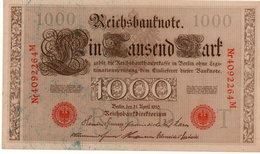 GERMANY- 100 MARK 1910  P-44b/5  Unc  SERIE T 4092264  M - [ 2] 1871-1918 : German Empire