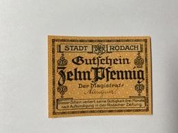 Allemagne Notgeld Rodach 10 Pfennig - [ 3] 1918-1933 : République De Weimar