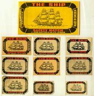9+1 Alte Zündholzetiketten Aus Schweden, The Ship Safety Match, J.John Masters & Co. LTD. London, Made In Sweden. - Matchbox Labels