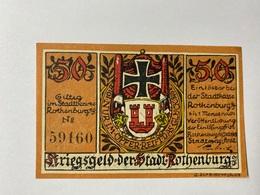 Allemagne Notgeld Rothenburg 50 Pfennig - [ 3] 1918-1933 : République De Weimar