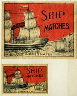 1+1 Alte Zündholzetiketten Aus Schweden, Impregnated Ship Matches. - Matchbox Labels