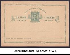 ST THOMAS & PRINCE ISLANDS - 30reis UPU POSTCARD - MINT - UPU (Wereldpostunie)