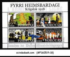 FAROE ISLANDS - 2018 THE END OF WORLD WAR I WWI MIN/SHT MNH - Isole Faroer
