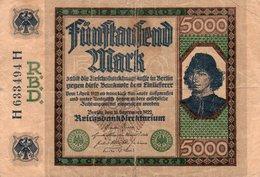 GERMANY- 5000 MARK 1922  P-77  Circ. SERIE H 633494  H  (piccola Rottura Centro-1 Cm) - 5000 Mark