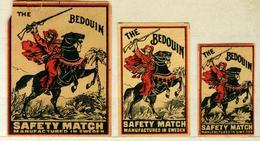 2+1 Alte Zündholzetiketten Aus Schweden, The Bedouin Safety Match, Manufactured In Sweden. - Matchbox Labels