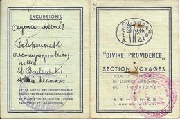 GRECE...FRANCE...CARTE DE VOYAGE..*DIVINE PROVIDENCE*.... MR  DALLAPORTA...  ATHENES....1952...... - Other