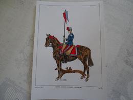 Planche Aquarellée. Saumur école De Cavalerie Officier 1885 - Uniformes