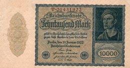 GERMANY- 10000 MARK 1922  P-72/2  Circ Xf+aunc  SERIE  T-014331922 - [ 3] 1918-1933: Weimarrepubliek