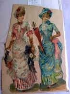 Decoupis Oblaten Victorian Scraps Early 1890 German 2 Jeune Femmes  13.0*9 CM Beautiful Dress Fashion Mode - Découpis