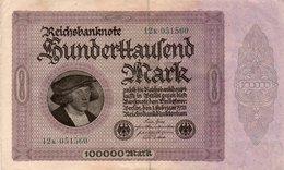 GERMANY- 100000 MARK 1923  P-83a  QAUNC   SERIE  12k  051560 - [ 3] 1918-1933 : República De Weimar