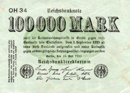 GERMANY- 100000 MARK 1923  P-91a  CircXF+AUNC   SERIE  OH 34 - [ 3] 1918-1933 : República De Weimar