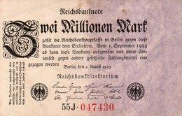 GERMANY- 2 MILLIONEN MARK 1923  P-103.2  Circ XF   SERIE  55J-047430 - [ 3] 1918-1933 : República De Weimar
