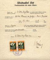 1939 YUGOSLAVIA,CROATIA,SVETI PETAR,DUGA RESA,FREE TO MARRY, CATHOLIC CHURCH KOLEK & STATE REVENUE STAMP - Covers & Documents