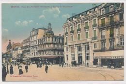 CPA. Troyes Place Des Anciennes Boucheries Et Rue De La République Colorisée Circulée 1922 - Troyes