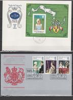 Turks & Caicos Islands 1977 Queen Elizabeth II Silver Jubilee Set Of 3 + S/s On 2 FDC - Case Reali