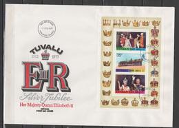 Tuvalu 1977 Queen Elizabeth II Silver Jubilee Set Of 3 + S/s On 2 FDC - Case Reali