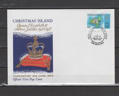 Christmas Island 1977 Queen Elizabeth II Silver Jubilee Stamp On FDC - Case Reali