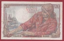 """20 Francs """"Pêcheur"""" Du 19/05/1949.F---TTB---ALPH .D.222 - 20 F 1942-1950 ''Pêcheur''"""