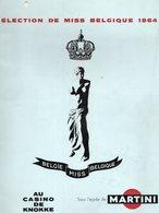 CASINO De KNOKKE - ELECTION DE MISS BELGIQUE 1964 - Sous L'égide De MARTINI - Programme