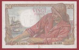 """20 Francs """"Pêcheur"""" Du 10/03/1949.A---TTB+---ALPH .Q.193-----2 TROU D EPINGLE - 20 F 1942-1950 ''Pêcheur''"""