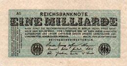 GERMANY-1MILLIARDE MARK 1923  P-122.1  Circ XF   UNIFACE - [ 3] 1918-1933 : Repubblica  Di Weimar