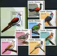 Guinea-Bissau 1989 MiNr. 1018 - 1025 (Block 275) Birds Pigeons 7v+1bl MNH** 17.50 € - Guinée-Bissau