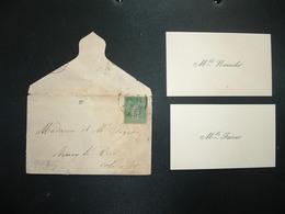 LETTRE MIGNONNETTE TP SAGE 5c OBL.18 ? 95 ARNAY COTE D'OR (21) + CARTES DE VISITE Mlle FAIVRE Mlle NEUROHR - 1877-1920: Période Semi Moderne