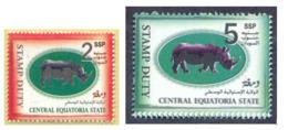 SOUTH SUDAN Short Set 2 & 5 SSP Revenue / Fiscal Stamp Central Equatoria State RHINO Timbres Fiscaux Soudan Du Sud RARE! - Sudán Del Sur