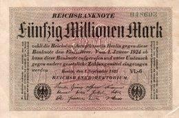 GERMANY-50 MILLIONEN MARK 1923  P-109b.2  AUNC  UNIFACE - [ 3] 1918-1933 : República De Weimar