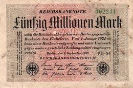 GERMANY-50 MILLIONEN MARK 1923  P-109b.2  CIRC  UNIFACE  SERIE 002244 - [ 3] 1918-1933 : República De Weimar