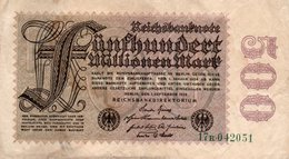 GERMANY-500 MILLIONEN MARK 1923  P-110b  CIRC  UNIFACE - [ 3] 1918-1933: Weimarrepubliek