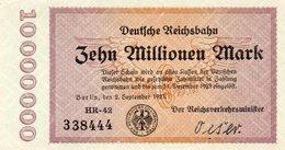 GERMANY-10 MILLIONEN MARK 1923  P-S1014.3  UNC  SERIE RADAR 338444  UNIFACE - [ 3] 1918-1933: Weimarrepubliek