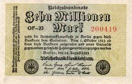 GERMANY-10 MILLIONEN MARK 1923  P-106d  AUNC  UNIFACE - [ 3] 1918-1933: Weimarrepubliek