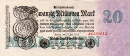 GERMANY-20 MILLIONEN MARK 1923  P-97.2  AUNC  UNIFACE  SERIE - [ 3] 1918-1933 : República De Weimar